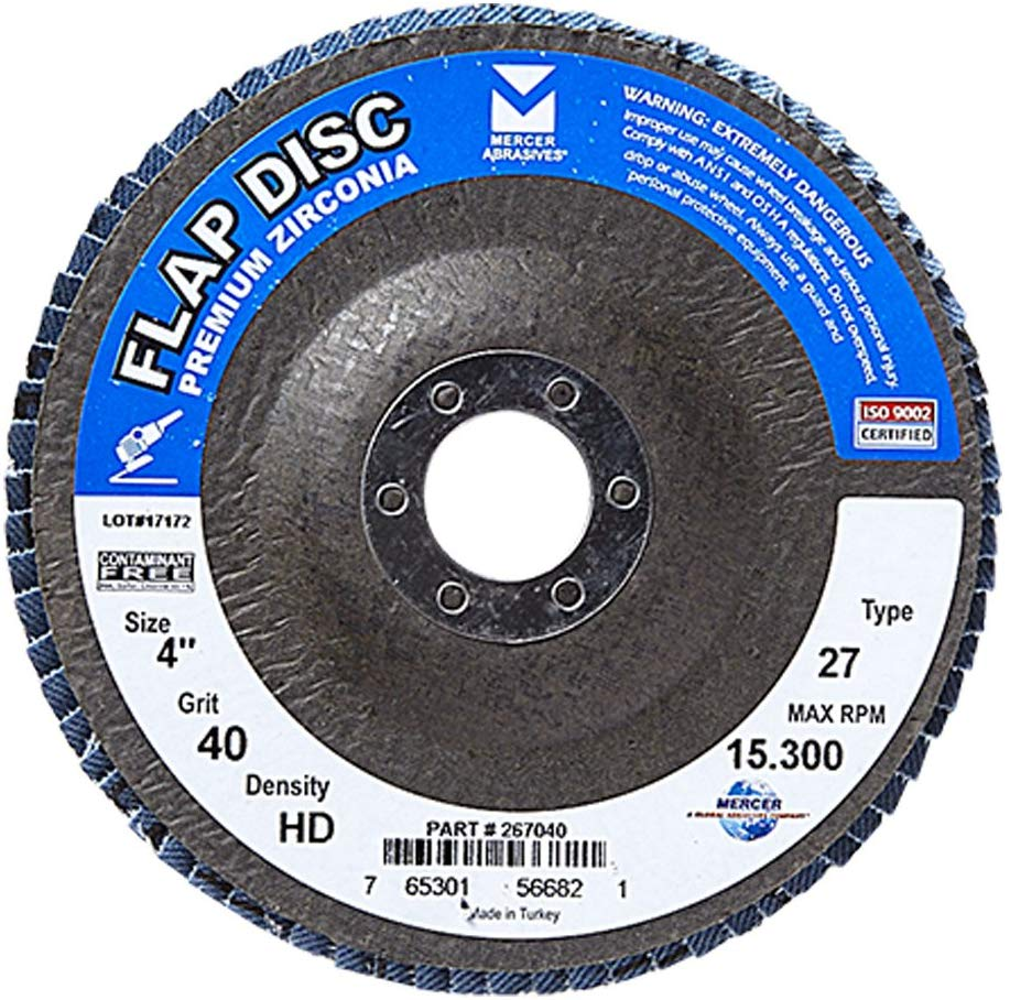 "Mercer Industries 267040 Zirconia Flap Disc, High Density, Type 27, 4"" x 5/8"", Grit 40, 10 Pack - StaplerManiaStore"