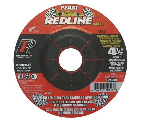 "Pearl Abrasive DCRED45 4-1/2"" by 1/4"" by 7/8"" Depressed Center Grinding Wheels (Box of 25) - StaplerManiaStore"