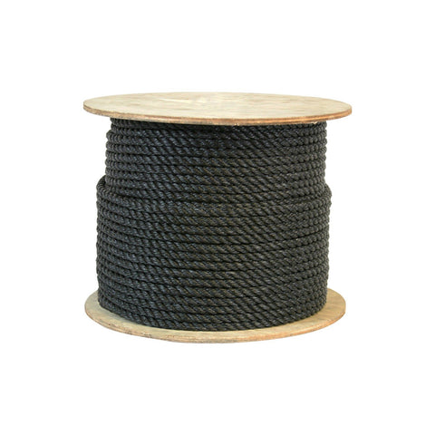 301060 1/4 Inch Twisted Polypropylene Black Rope 600 Feet Long - StaplerManiaStore
