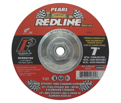 "Pearl Abrasive DCRED70H 7"" by 1/4"" by 5/8""-11 Depressed Center Grinding Wheels - StaplerManiaStore"