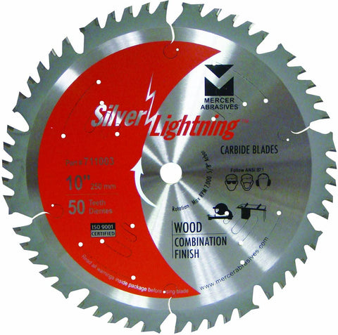 Mercer Industries 711003 50-Tooth ATB Carbide Wood Cutting Blade with 10-Inch Diameter and 5/8-Inch Arbor, Combination Finish - StaplermaniaStore