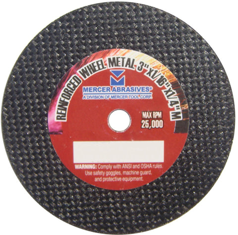 Mercer Abrasives Small Diameter High Speed Fully Reinforced Cut-Off Wheels 3-Inch by 1/32-Inch by 1/4-Inch M - StaplerManiaStore
