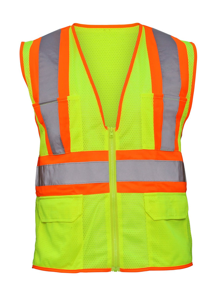"SAS Safety 690-2110 Flame Retardant Vest, Class 2 Yellow with 2"" Reflective Contrasting Trim - XLrg - StaplerManiaStore"