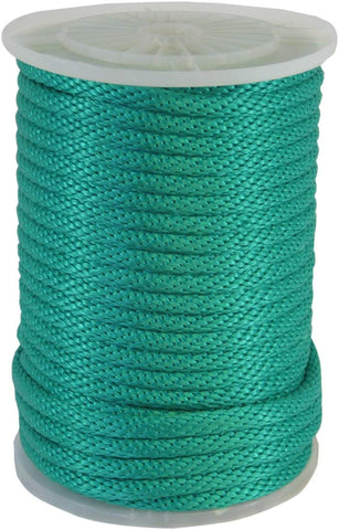 115415 5/8in Green Solid Braid Multifilament Poly Halter Rope 200ft - StaplerManiaStore
