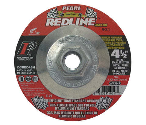"Pearl Abrasive DCRED45H 4-1/2"" x 1/4"" x 5/8""-11 Depressed Center Grinding Wheels ( 10/bx ) - StaplerManiaStore"