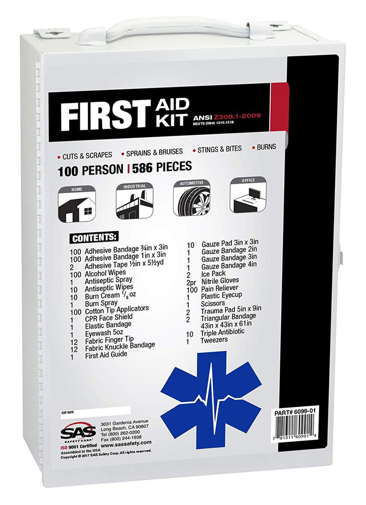 SAS Safety 6099-01 100-Person First-Aid Kit, Metal Cabinet - StaplerManiaStore