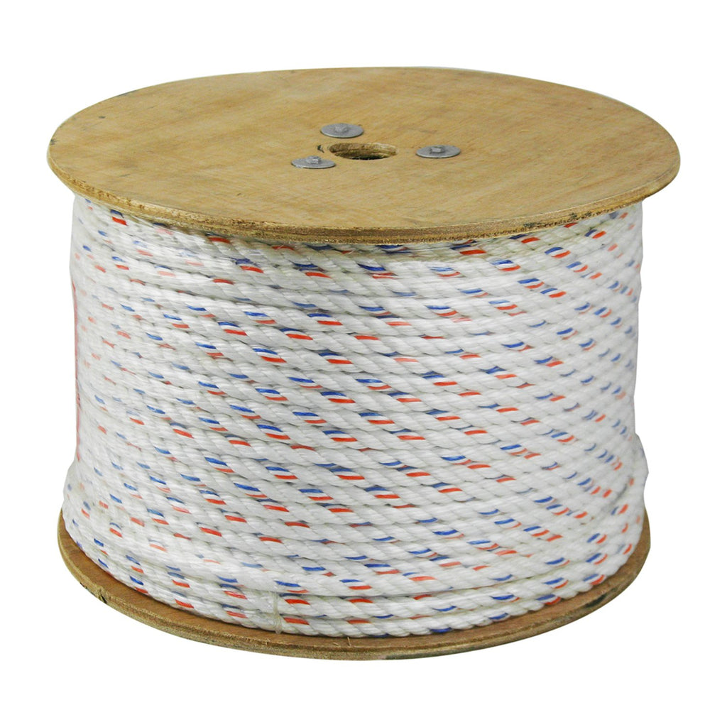 CWC 325045 3-Strand Poly-Dacron 600-Feet White Rope with Tracer, 1/2-inch - StaplerManiaStore