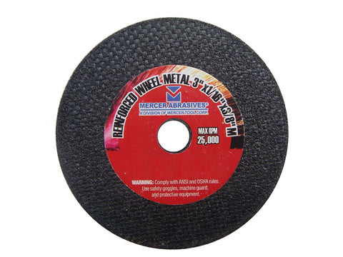 Mercer Abrasives 613080-100 Small Diameter High Speed Fully Reinforced Cut-Off Wheels 3-Inch by 1/16-Inch by 3/8-Inch C, 100-Pack - StaplerManiaStore