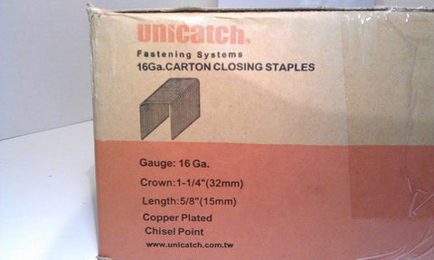 "Copper Carton Staples C5/8 JK561/15 Box Staple 2,000 Count 1 1/4"" Crown X 5/8"" L by Unicatch - StaplerManiaStore"