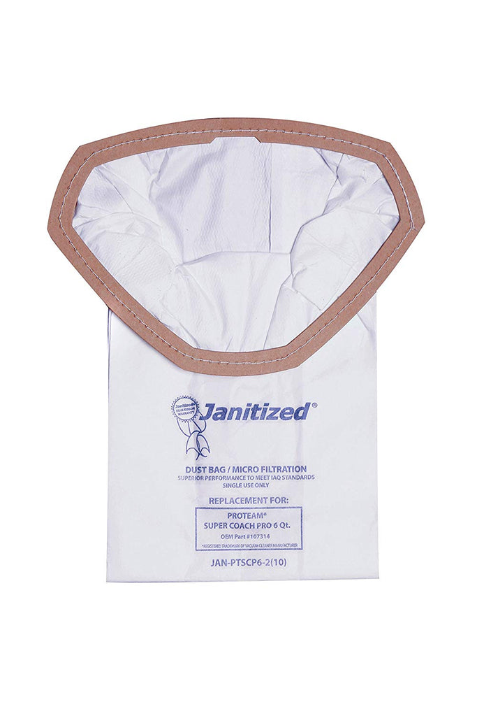 Janitized JAN-PTSCP6-2(10) Premium Replacement Commercial Vacuum Paper Bag for ProTeam Super Coach Pro Vacuum Cleaners, OEM#107314 (Pack of 10) - StaplerManiaStore