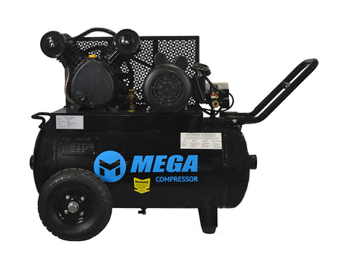 2 HP MegaPower Horizontal Air Compressor, Single Stage, 20 Gallon MP-2020EH - StaplermaniaStore