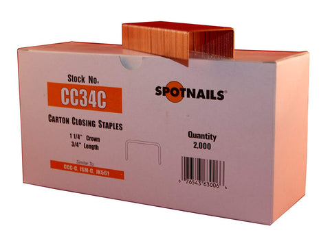 Spot Nails CC34C 1-1/4-Inch Crown 3/4-Inch Leg Carton Closing Staple (Quantity 2000) - StaplerManiaStore