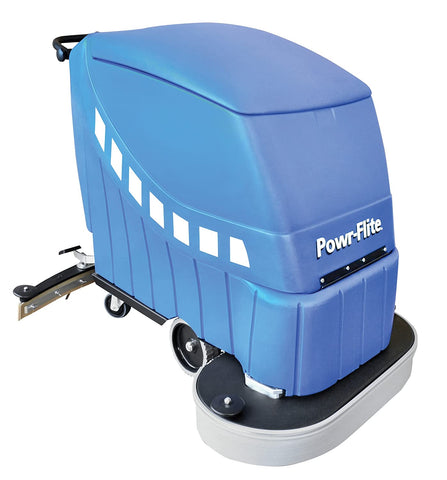 "Powr-Flite PAS28-DXBC Self-Propelled Battery Powered Automatic Scrubber, 225 rpm, 28"" - StaplerManiaStore"