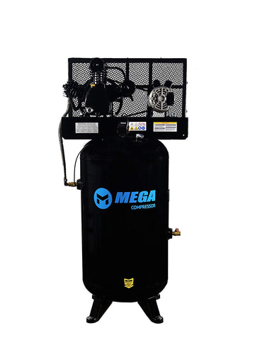 6.5 HP MegaPower Vertical Air Compressor, 1 Phase, 80 Gallon, 2 Stage, MP-6580V - StaplermaniaStore