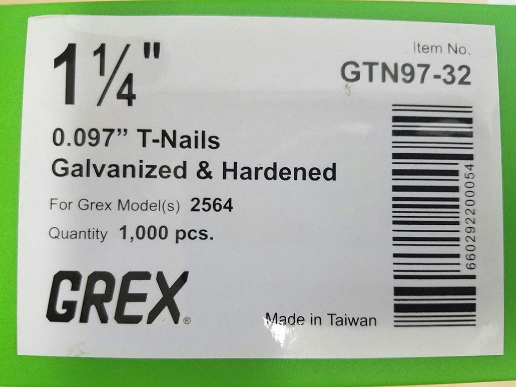 "GREX 1 1/4"" X 097 T NAILS 1M - StaplerManiaStore"