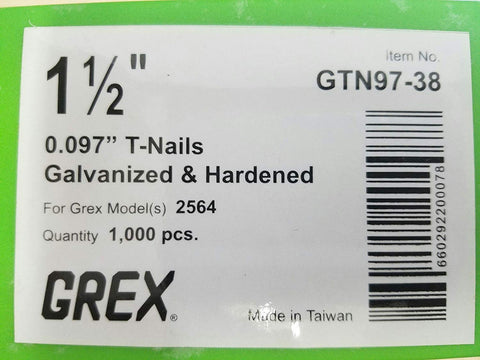 "GREX 1 1/2"" X 097 T NAILS 1M - StaplerManiaStore"