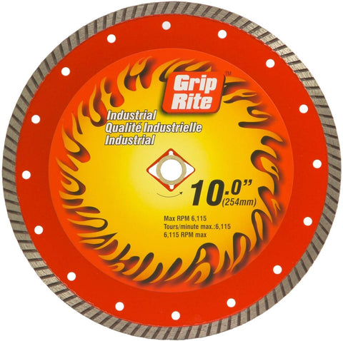 Grip-Rite GRTDB10I 10-Inch Industrial Turbo Rim Diamond Blade - StaplerManiaStore