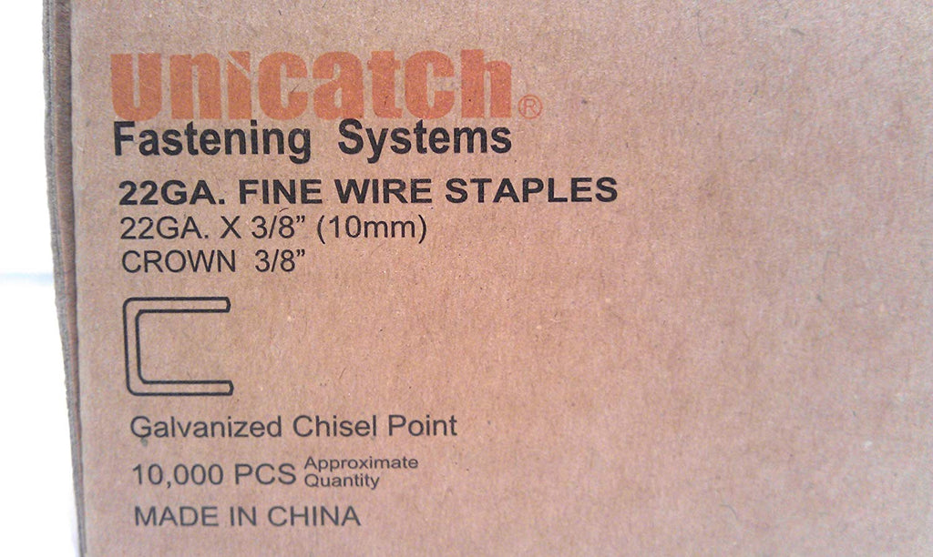 "Unicatch 22 Gauge 3/8"" Long 3/8"" Crown Galvanized Upholstery Staple C06 71/10 10,000 Per Box - StaplermaniaStore"