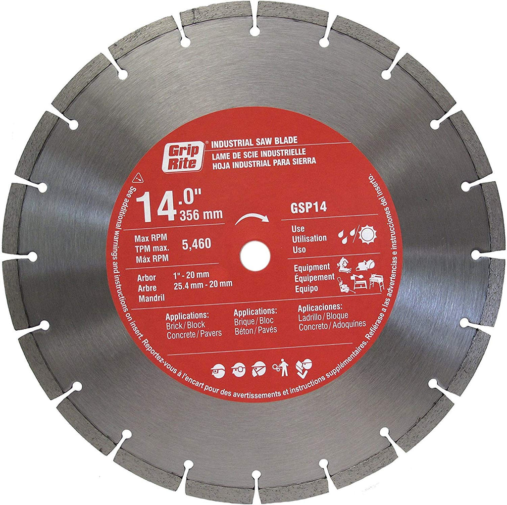 "Grip Rite Prime Guard GSP14 General Purpose Industrial Saw Blade with 10mm Segments, 14"" - StaplermaniaStore"