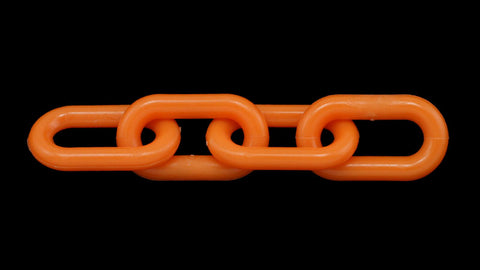 "2"" (8 MM) Plastic Chain in Orange, 50 feet Length - StaplerManiaStore"