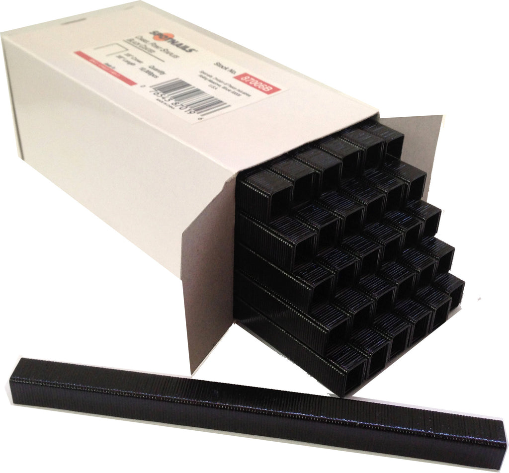 "Upholstery  Fine Wire Staple 22 Gauge BLACK  C06  3/8"" crown, 3/8"" length 87006B - StaplerManiaStore"