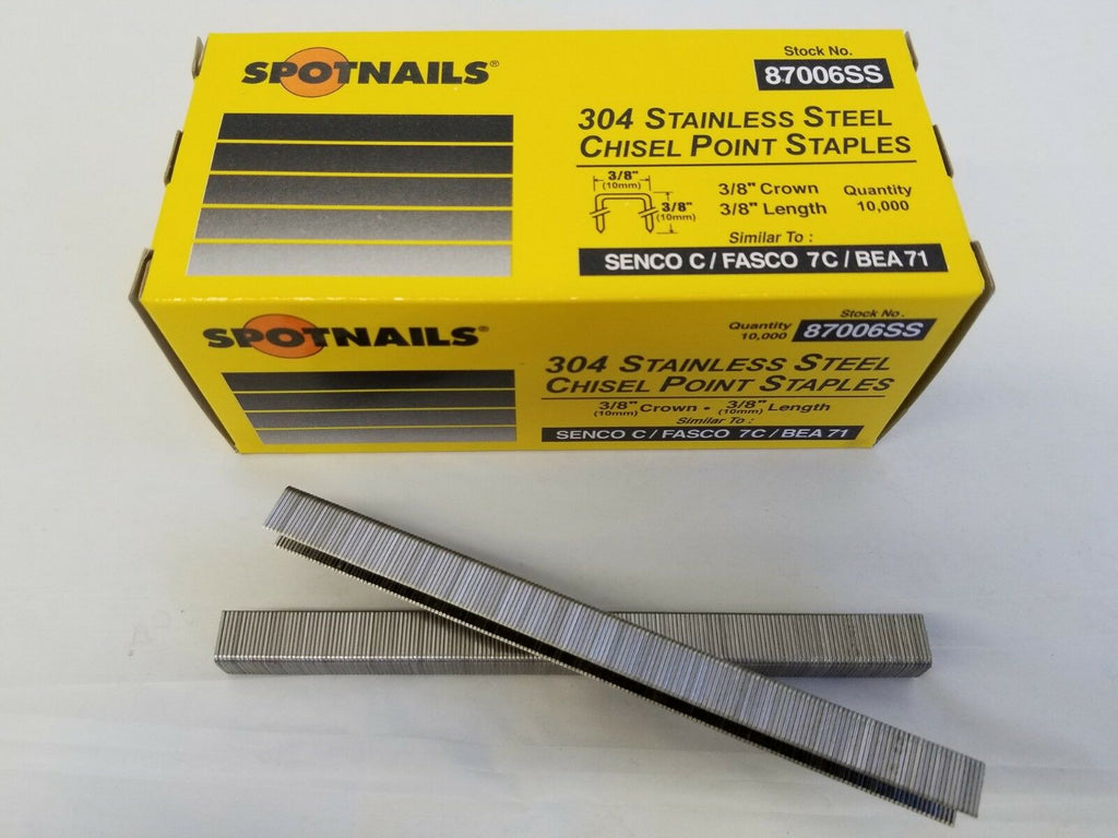 "C06 Stainless Steel Upholstery  Fine Wire Staple 22 Gauge 3/8"" crown, 3/8"" length - StaplerManiaStore"