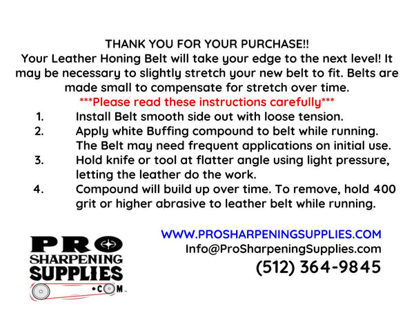 Leather Honing Belt Instructions