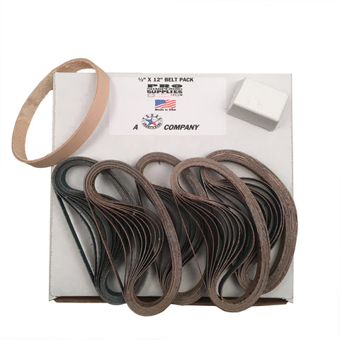 "1/2""x12"" Work Sharp Belt Pack- 120, 400, 600, 800, 1000 & Leather Belt w Compound"