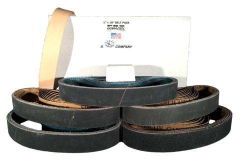 "1""x18"" Sharpening Belt Pack - 120, 400, 600, 800, 1000 & Leather Belt w Compound"