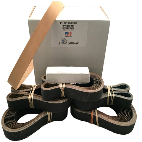 "1""x30"" Sharpening Belt Pack- 120, 400, 600, 800, 1000 & Leather Belt w Compound"