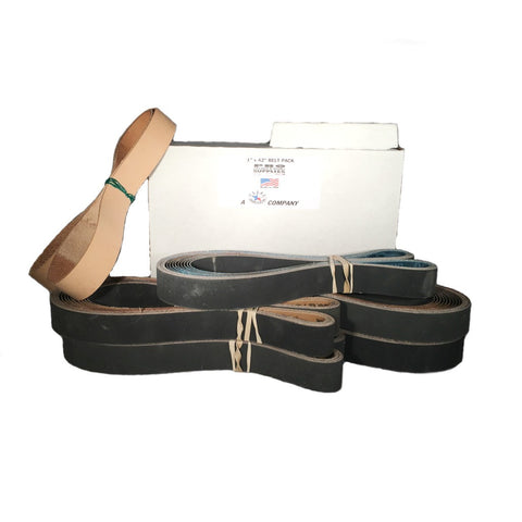 "1""x42"" Sharpening Belt Pack- 120, 400, 600, 800, 1000 & Leather Belt w Compound"