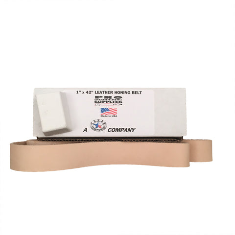 Pro Sharpening Supplies 1x42 Leather Strop Belt - Buffing Compound Included