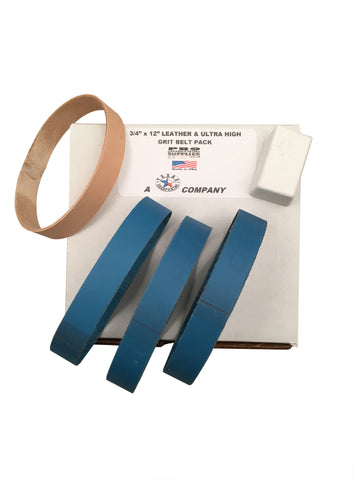 "3/4""x12"" Ultra High Grit Pack 5 each 1200, 1500, 2000 Grit & Leather Honing Belt"