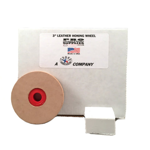 "3"" Leather Stropping Wheel Buffing Compound Included - Pro Sharpening Supplies"