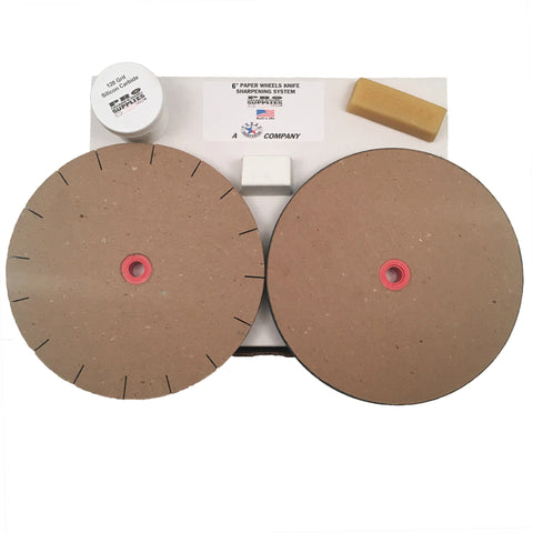 "Paper Wheels Sharpening System 6"" Wheels for 5"" Grinders Grit & Polishing Wheel"