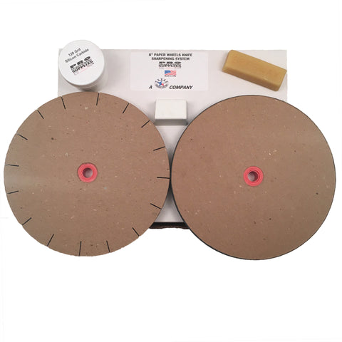 "8"" Paper Wheels Knife Sharpening System for 6"" Grinders - 2 Wheels, Wax, Grit, & Buffing Compound"