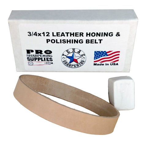 "3/4"" x 12"" Leather Strop Belt Fits Ken Onion Work Sharp- Compound Included"