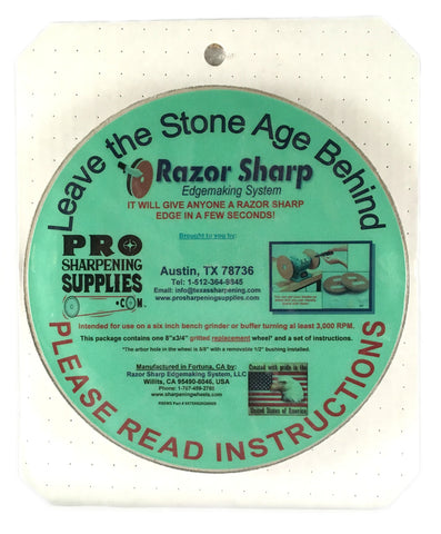 "Razor Sharp Edgemaking - 8""x3/4"" Gritted Sharpening Replacement Wheel"