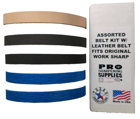 Assorted 1/2 in. X 12 in. Belt Kit with Leather Honing Belt fits Original Work Sharp WSKTS Knife and Tool Sharpener
