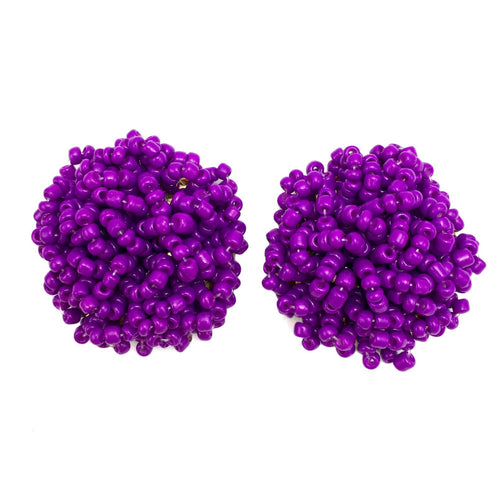 Brandy Beaded Studs - Purple, Earrings, Bold Addictions™ - Bold Addictions | Fashion Jewelry & Accessories Boutique