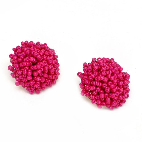 Brandy Beaded Studs - Fuchsia, Earrings, Bold Addictions™ - Bold Addictions | Fashion Jewelry & Accessories Boutique