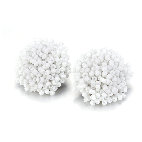 Brandy Beaded Studs - White, Earrings, Bold Addictions™ - Bold Addictions | Fashion Jewelry & Accessories Boutique