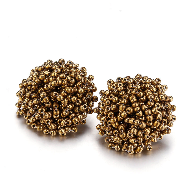 Brandy Beaded Studs - Gold, Earrings, Bold Addictions™ - Bold Addictions | Fashion Jewelry & Accessories Boutique