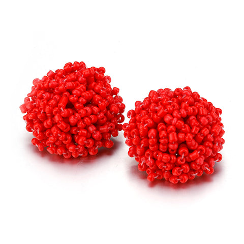 Brandy Beaded Studs - Red, Earrings, Bold Addictions™ - Bold Addictions | Fashion Jewelry & Accessories Boutique