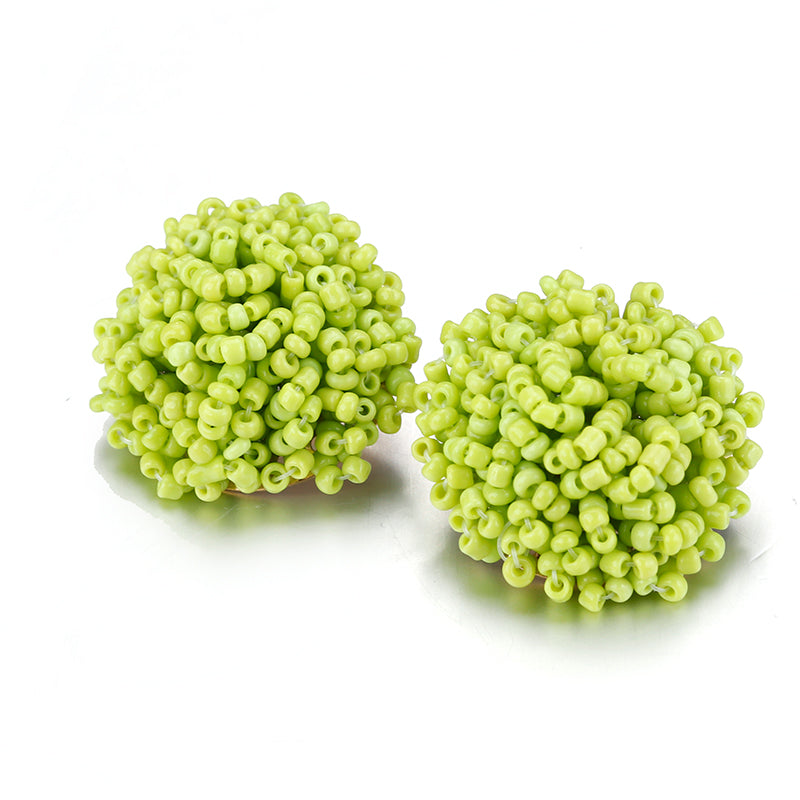 Brandy Beaded Studs - Light Green, Earrings, Bold Addictions™ - Bold Addictions | Fashion Jewelry & Accessories Boutique