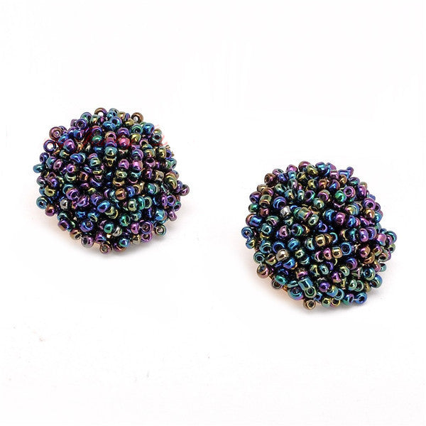 Brandy Beaded Studs - Iridescent, Earrings, Bold Addictions™ - Bold Addictions | Fashion Jewelry & Accessories Boutique