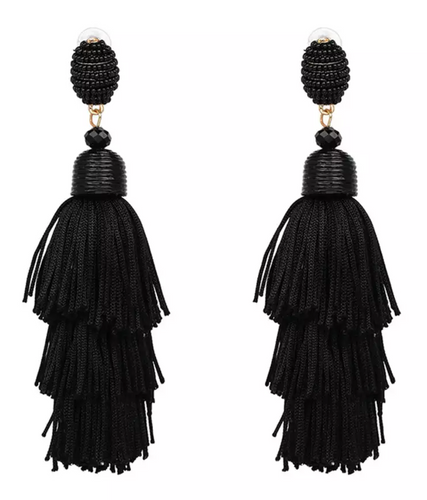 Kayel Tassel Earrings - Black, Earrings, Bold Addictions™ - Bold Addictions | Fashion Jewelry & Accessories Boutique