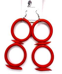 Royal Drop Earrings - Red