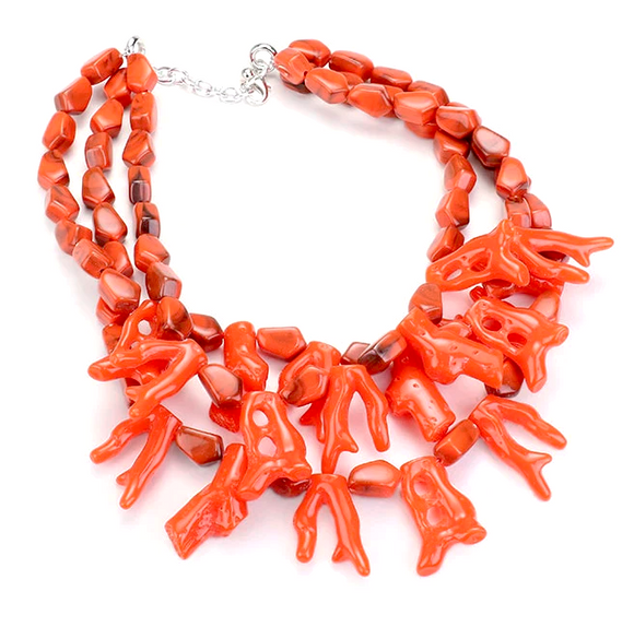 Makena Coral Necklace - Orange