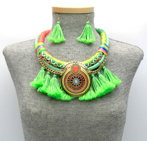 Kandi Tassel Necklace Set - Green